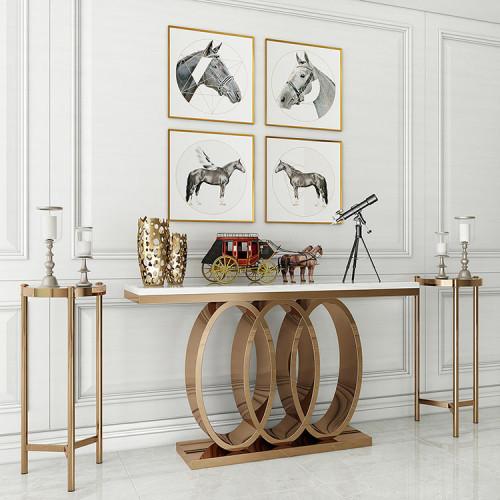 Light luxury decorative porch platform hall corridor porch cabinet European marble porch table stainless steel