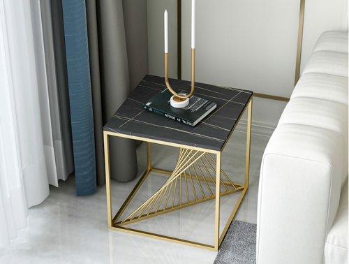 Light luxury marble round side table