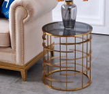 Morden Living Room Stainless Steel metal base Sofa Side Table Glass top coffee tea table beside end table