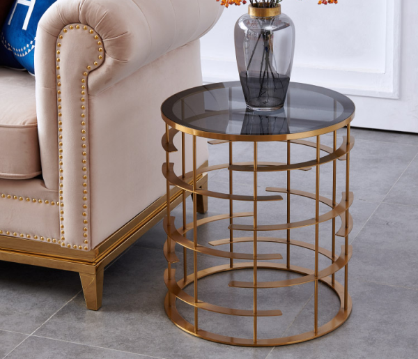 Simple side several living room iron round toughened glass coffee table American light luxury corner table