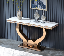 Light luxury porch table against wall bar post modern simple stainless steel marble porch platform