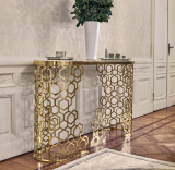 luxury golden console table high quality marble table in the hallway