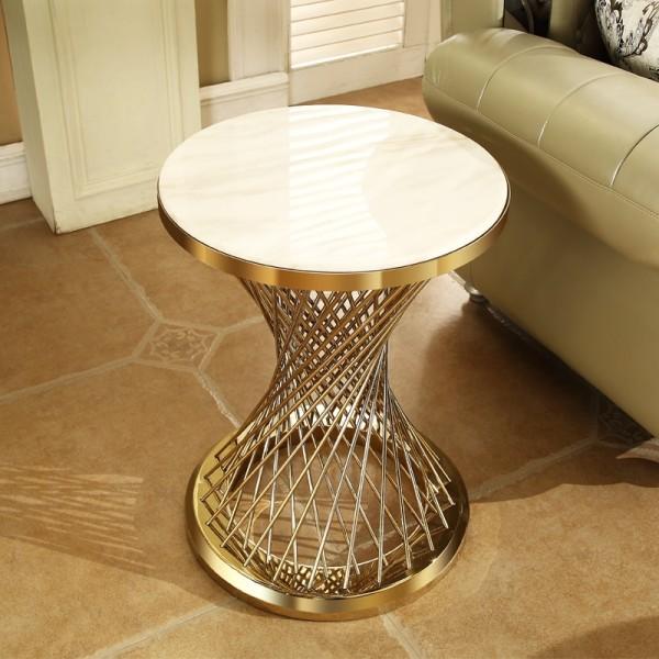 Small round table simple modern small tea table small family marble sofa edge a few light luxury living room creative corner