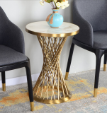 Stainless steel gold round coffee side table modern with marble top surface