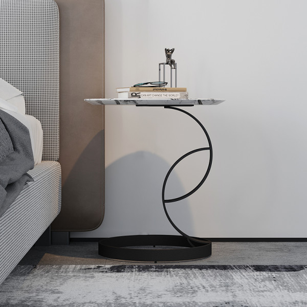 Nordic round light luxury marble corner side table special-shaped creativity