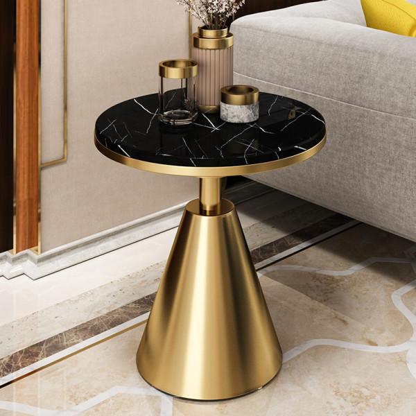 Post modern stainless steel metal edge few luxury round corner table