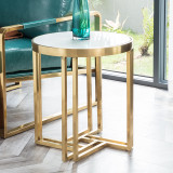 Modern living room furniture stainless steel gold side tables living room pvd finish side table