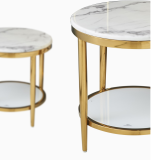 Home Furniture Durable Stainless Steel Marble Round Side Table Center Table For Living Room