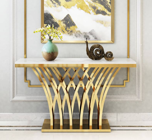 Light luxury porch table marble stainless steel modern simplicity