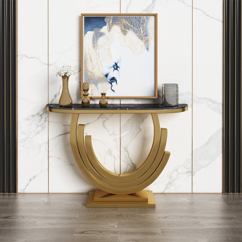 Nordic marble porch table simple modern light luxury wall hotel living room semicircular porch