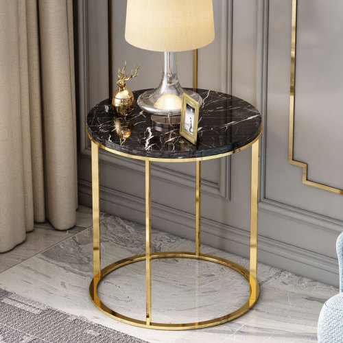 Post modern light luxury stainless steel American round table marble corner table