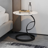 Modern Black Marble Top Coffee Table Italy Hotel Living Room Furniture Metal Base Round Sofa Side Table For Sale