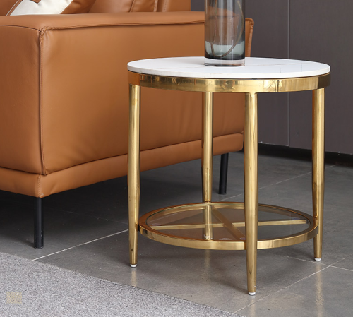 Sofa side several light luxury double-layer round tea table modern simple corner table