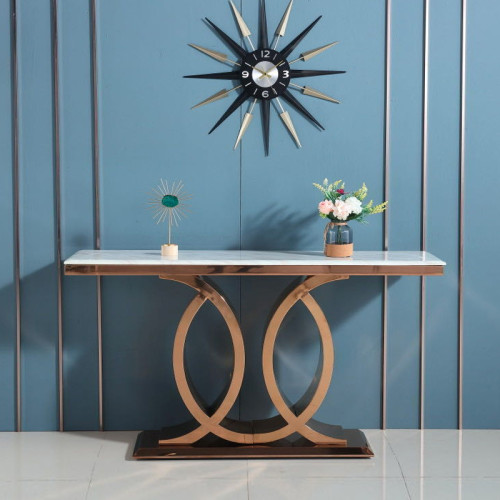Light luxury entrance porch table stainless steel decorative bar porch cabinet hotel corridor marble balcony