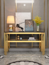 Light luxury style marble porch table against the wall into the door ultra narrow porch platform