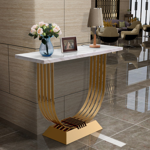 Modern simple stainless steel light luxury porch table marble