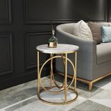 Side Table Modern Marble Polished Round Shape Unique Design Metal Legs Modern Living Room used in Restaurants, Homes Side Table