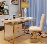 Luxury Golden Stainless steel frame office desk work furniture office table for working
