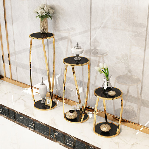 Post modern light luxury stainless steel flower rack living room plant shelf indoor floor type circular high medium low flower rack