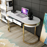 Solid wood computer desk desktop simple home study desk bedroom white paint light luxury desk and chair combination