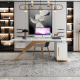 Stainless steel desk with drawer in hallway of living room with modern light luxury style