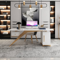 Post modern light luxury style white solid wood desk creative single boss desk simple fashion home study desk