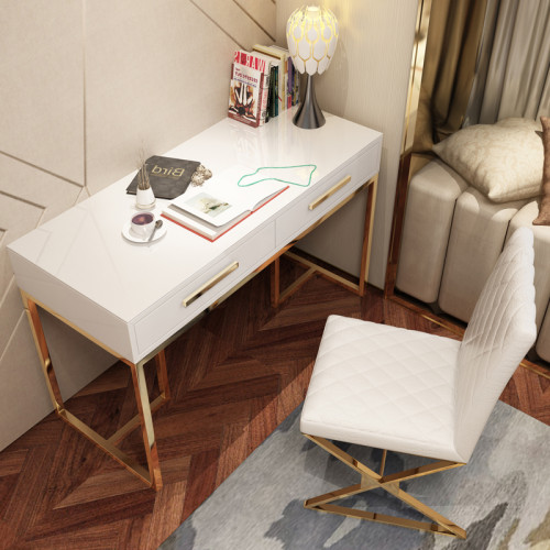Post modern light luxury simple home study stainless steel paint computer desk office desk creative desk