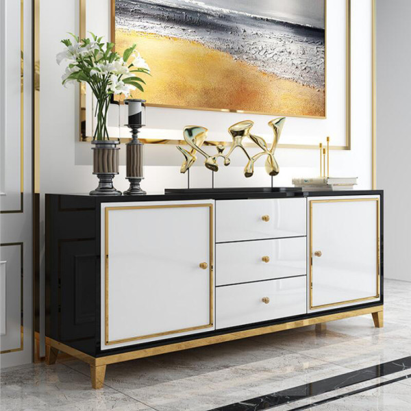 Light luxury dining side cabinet post modern simple living room kitchen storage paint baking porch cabinet wine cabinet tea water cabinet storage cabinet