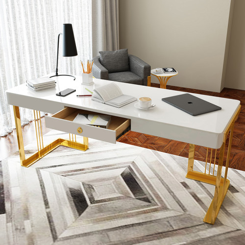 Nordic Light luxury iron computer desk post modern lacquer painting boss desk home bedroom desk simple desk