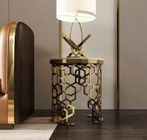 Post modern stainless steel light luxury tea table marble oval corner table