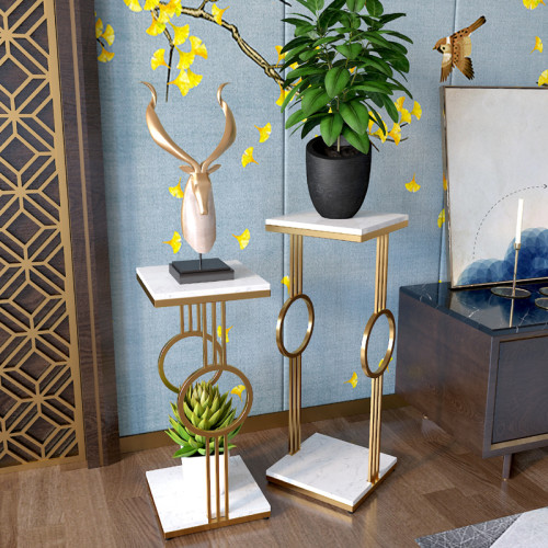 Light luxury flower shelf Nordic living room modern simple multi-layer TV cabinet iron flower pot shelf