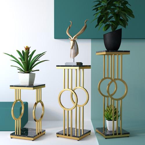Light luxury flower shelf Nordic living room modern simple multi-layer TV cabinet iron flower pot shelf