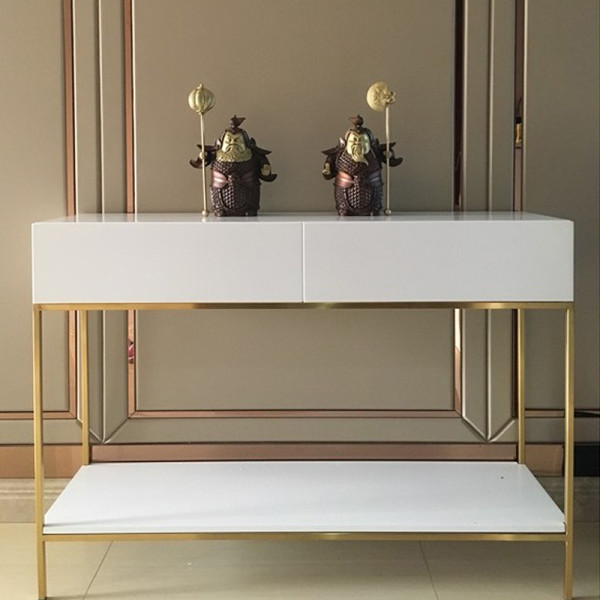 Nordic simple modern porch table white paint drawer gold stainless steel bar dining cabinet living room decorative cabinet