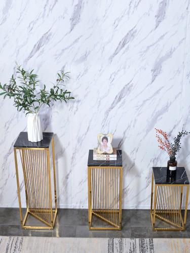 Stainless steel flower shelf shelf indoor post modern light luxury simple high grade marble floor type flower pot rack living room