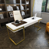 luxury desk study room wood trunk table gold metal stainless steel stand home office computer desk with drawers