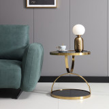 Round Gold Electroplated Stainless Steel Leg Side Coffee Table Living Room Modern Vintage Glass or Marble Top Side Table