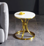 Metal Base Marble Side Table for Living Room Bed Side Hotel Coffee Table