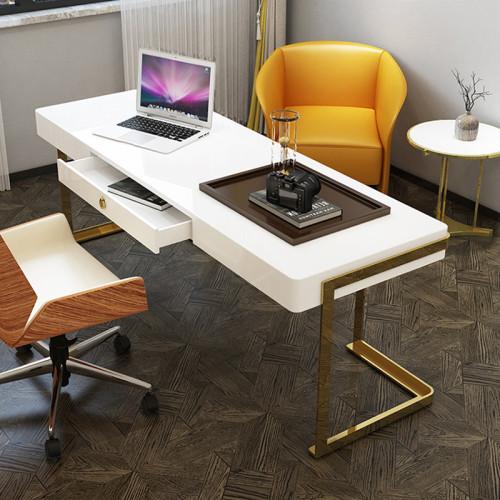 Post modern simple desk office desk lacquer baking consulting desk light luxury desk stainless steel titanium plated computer desk