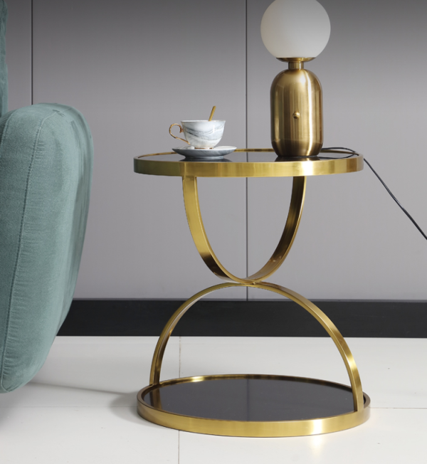 Modern simple stainless steel golden round corner several gold plating tempered glass sofa edge a few light luxury leisure tea table