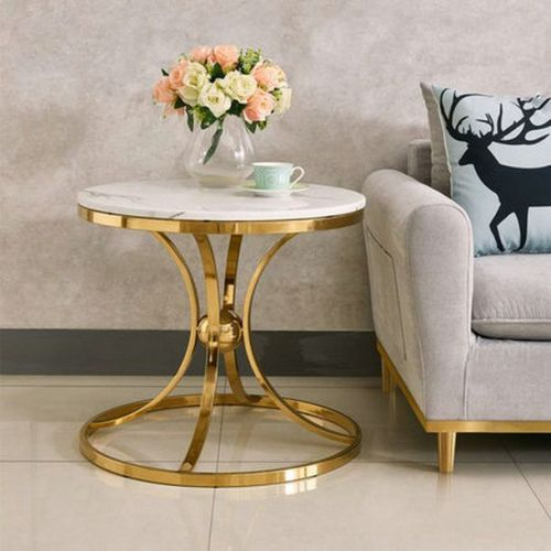 Nordic Light luxury side several marble tea table creative iron round table small family living room sofa corner