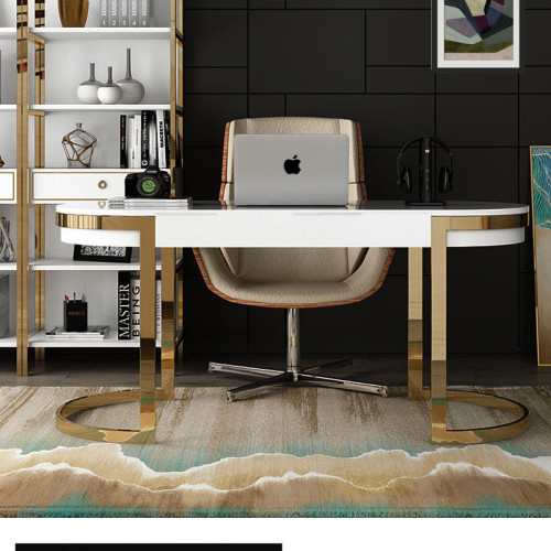 Modern light luxury desk piano paint baking small family desk stainless steel office home computer consultation reception desk