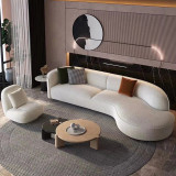 living room Nordic unique design white L shape sofa luxury fabric half moon curved sofa