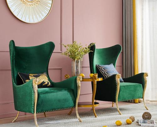 Customized light luxury fashion high-end sales department hotel lobby velvet sheep head 1 person sofa furniture