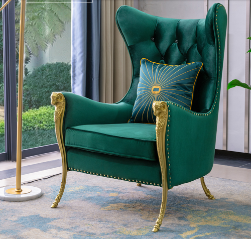 Customized light luxury fashion high-end sales department hotel lobby velvet sheep head 1 person sofa leisure chairfurniture