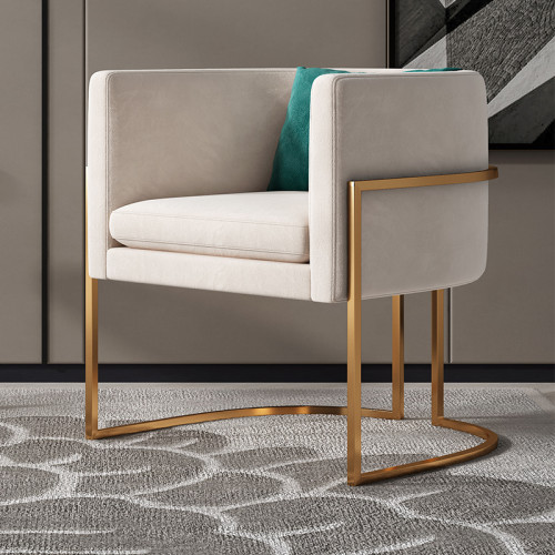 Modern luxury stainless steel gilded frame living room chair with leisure style armchair living room