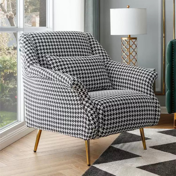 Mid Centry Modern Living Room Furniture Single Sofa Chair With Pattern Fabric Upholstered Accent Armchair