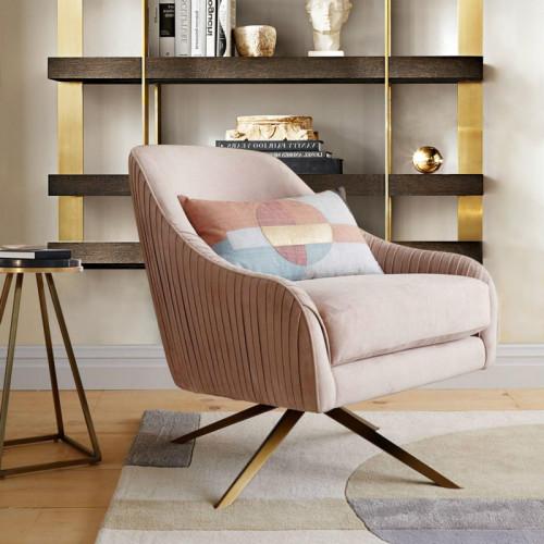 Modern Hotel Bed Room Velvet Lounge Armchair with Antique Gold Brass Swivel Base