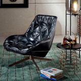 Commercial Design Hotel Lounge Modern Brown Leather Single Swivel Lounge Chair For Living Room