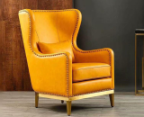 Customized Nordic American leather tiger chair light luxury simplicity high back single sofa living room balcony leisure sofa chair