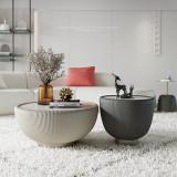 Italian light luxury tea table postmodern style creative round rock plate Hong Kong style modern simple tea table designer furniture